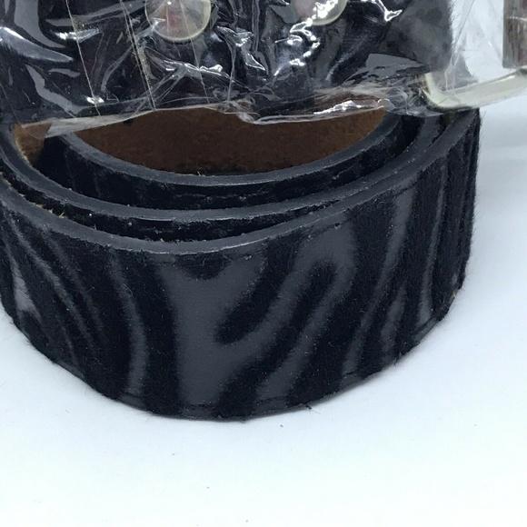 Zebra Print Faux Fur Textured Leather Belt Animal Striped Unisex Mens Womens
